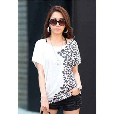 Fashion Style Women's Summer T-Shirt With Scoop Neck Short Sleeve Loose Fit Printed Design