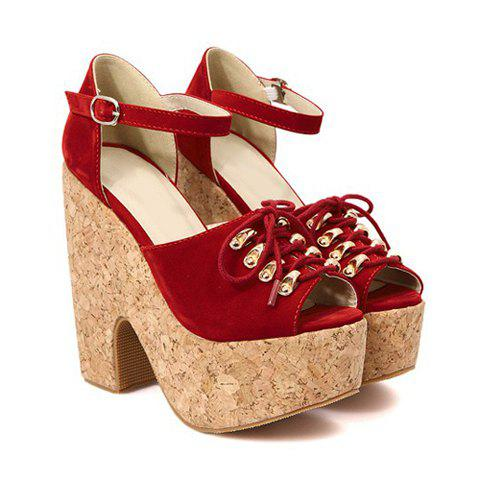 2013 New Arrival Lace-Up Suede and Belts Design Sandals For Women - RED 38