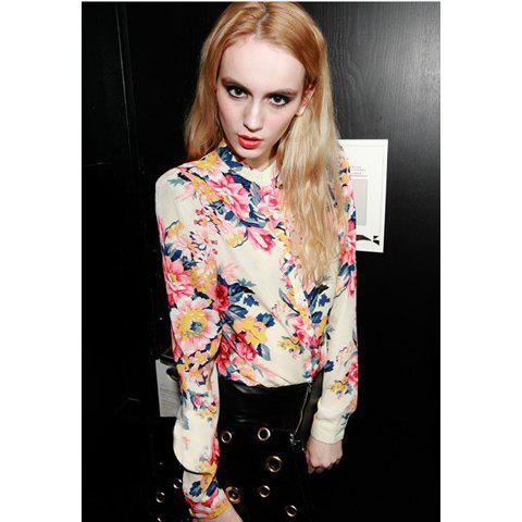 Retro Style Chiffon Floral Print Long Sleeves Stand Collar Women's Blouse