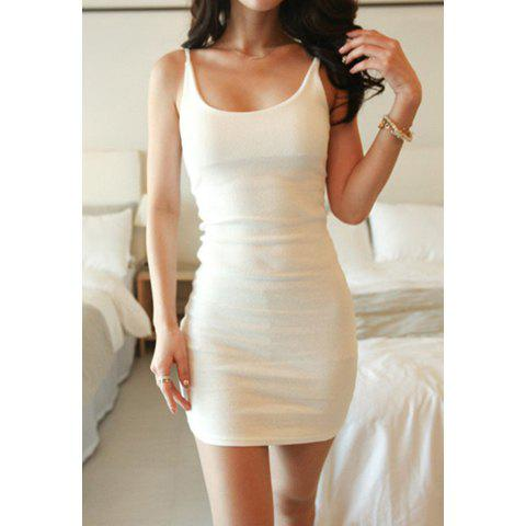 Women's Slim Fit Scoop Neck Solid Color Sleeveless Mini Dress - WHITE ONE SIZE