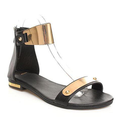 2013 New Arrival PU Leather Flat Heel and Metallic Design Sandals For Women - BLACK 37