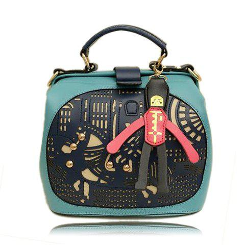 2013 New Arrival Color Block and Openwork Studs Design Tote For Women - BLUE