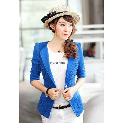 Sweet Style Chiffon Collarless 3/4 Sleeves Lace Splicing Solid Color Women's Blazer - BLUE XL