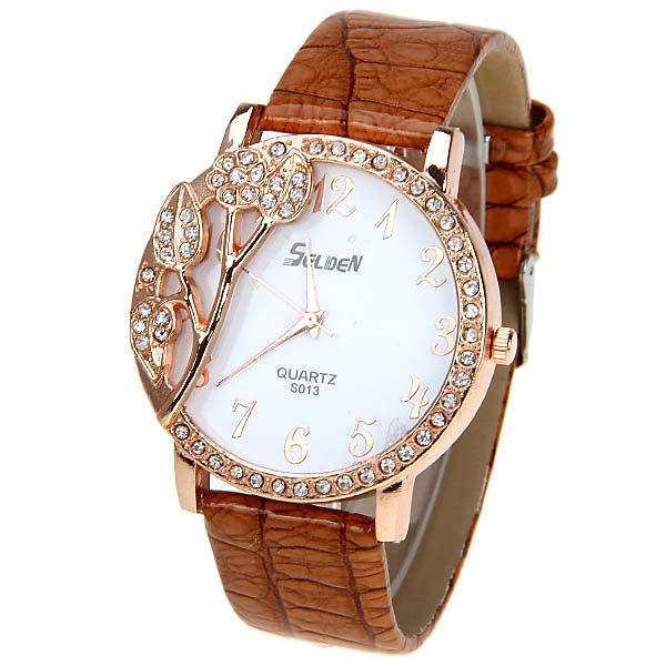 Selden Quartz Watch with 12 Arabic Numbers Indicate Leather Watchband for Women - Red - BROWN