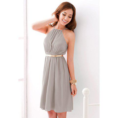 Off-The-Shoulder Solid Color Chiffon Dress For Women - LIGHT GRAY ONE SIZE
