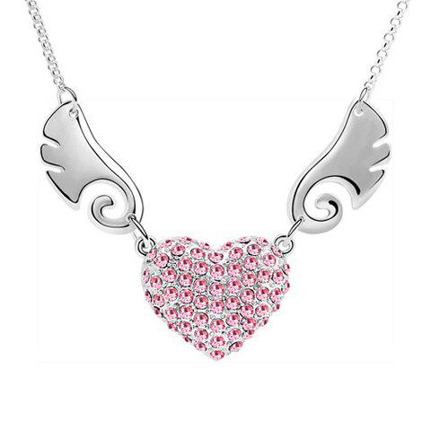Chic Rhinestoned Wing Decorated Heart Pendant Necklace - PINK