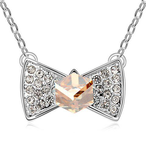 Sweet Rhinestoned Bowknot Pendant Decorated Necklace - GOLD