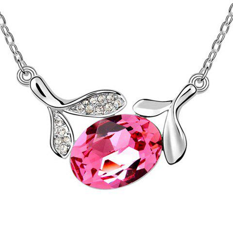 Chic Rhinestoned Leaf Decorated Waterdrop Pendant Necklace - ROSE