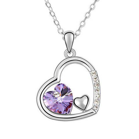 Rhinestoned Heart Decorated Pendant Necklace - COLOR ASSORTED