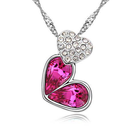 Rhinestoned Heart Decorated Pendant Necklace - PURPLISH RED