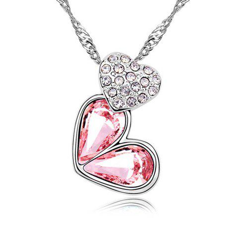 Rhinestoned Heart Decorated Pendant Necklace - PINK