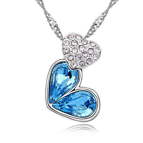 Rhinestoned Heart Decorated Pendant Necklace - LAKE BLUE