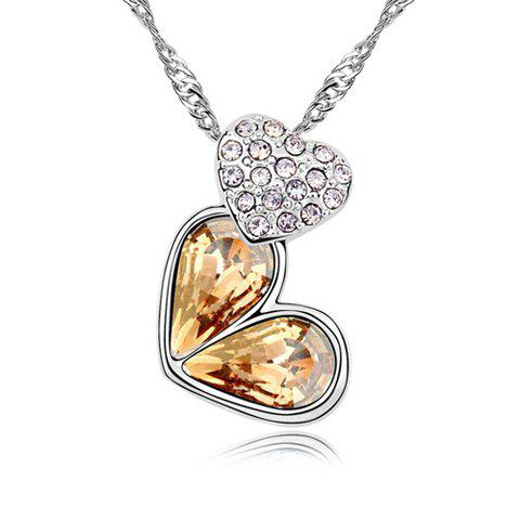 Rhinestoned Heart Decorated Pendant Necklace - GOLD