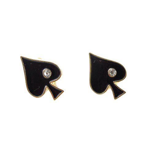 Rhinestone Playing Card Shape Stud Earrings -  BLACK