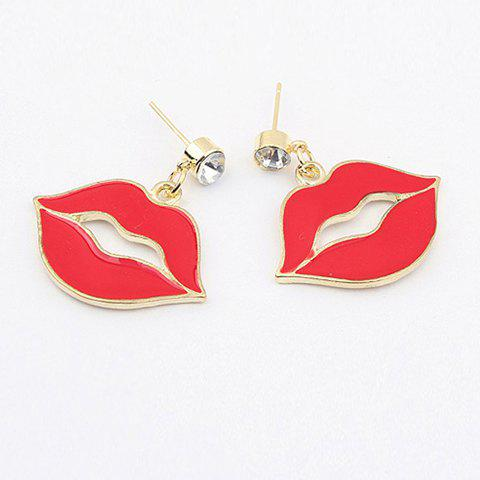Pair of Lip Drop Earrings - AS THE PICTURE