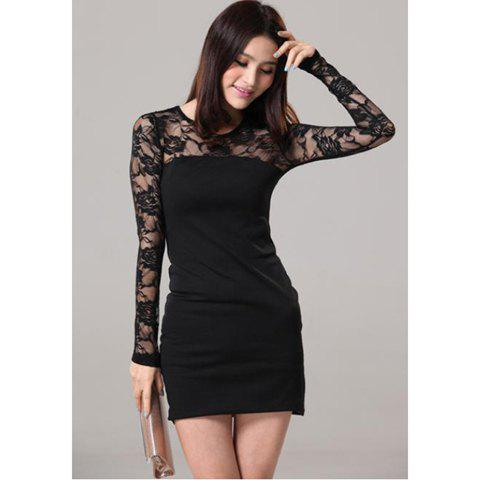 Women's Stylish Round Collar Lace Splicing Long Sleeve Black Dress - BLACK S