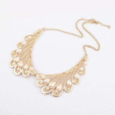 Openwork Wing Fake Pearl Necklace - AS THE PICTURE