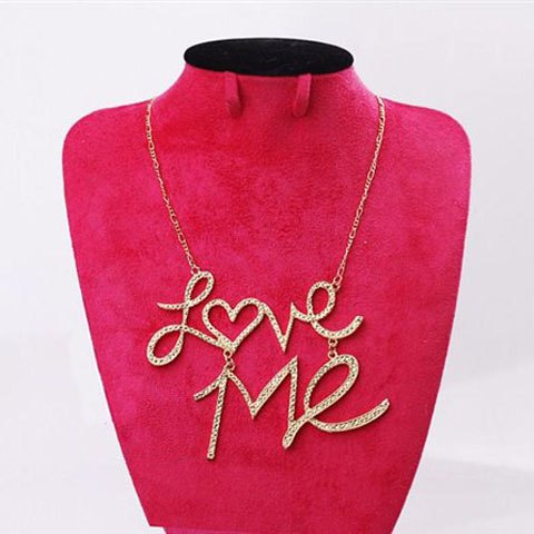 Fashion Rhinestoned Love-Me Pendant Necklace - COLOR ASSORTED