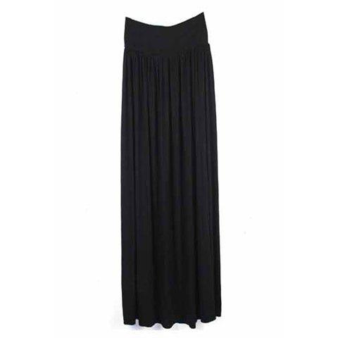 Slimming Solid Color Elastic Waist Ruffle Dress For Women - BLACK ONE SIZE