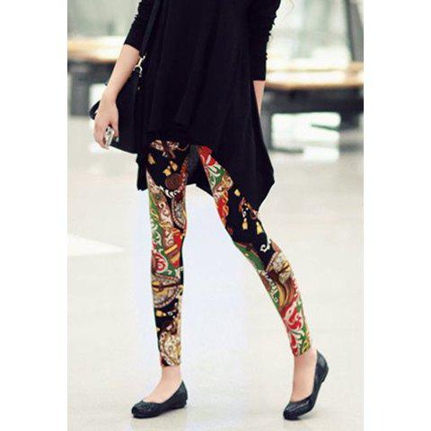 Sweet Colorful Flower Print Leggings For Women - AS THE PICTURE XL