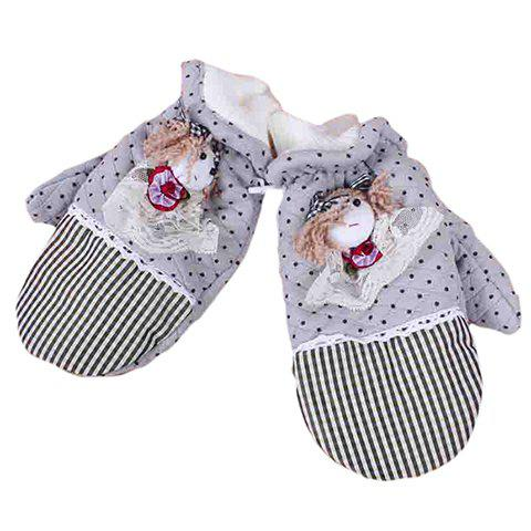 Sweet Cute Style Doll Checked and Polka Dot Print Design Gloves For Women - COLOR ASSORTED