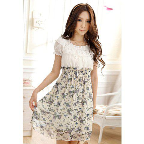 Sweet Square Neck Splicing Color Tiny Floral Print Beam Waist Chiffon Women's Dress - PURPLE ONE SIZE