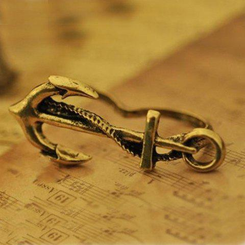 Vintage Anchor-Shaped Decorated Double Ring
