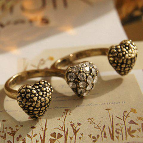 Vintage Rhinestoned Heart Decorated Women's Double Ring