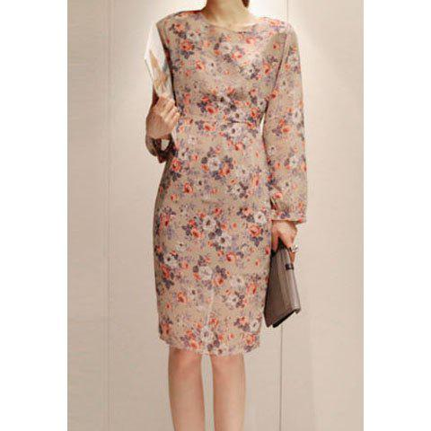 Elegant Tiny Floral Print Beam Waist Dress For Women - AS THE PICTURE S