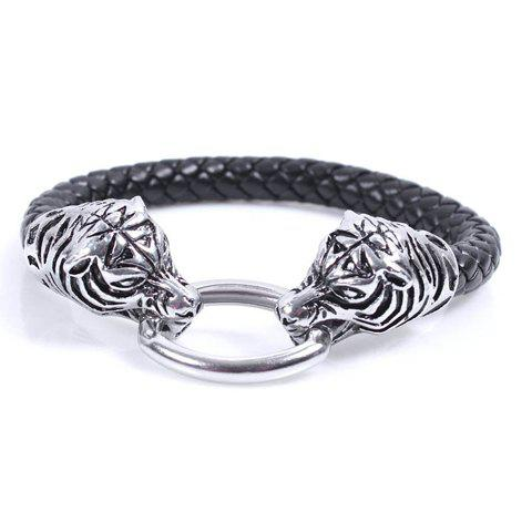 Tiger Head Shaped Oval Alloy Fastener Leather Band Bracelet - AS THE PICTURE