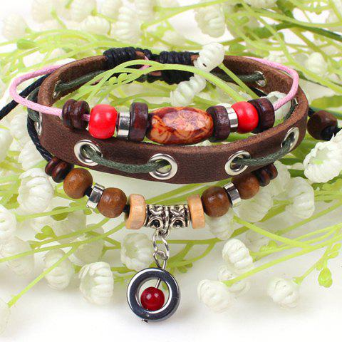 Faux Leather Beads Embellished Bracelet - COFFEE
