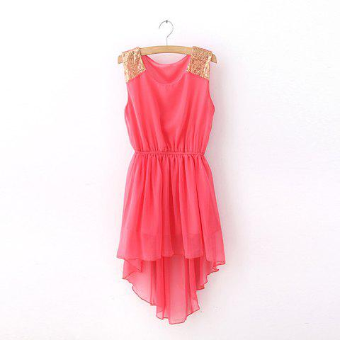 Women's Scoop Neck Asymmetric Sleeveless Solid Color Chiffon Spring Dresses - WATERMELON RED ONE SIZE