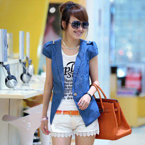 Fashinable Plunging Neck Epaulette Embellished Splicing Short Sleeves Denim Blazers For Women - AS THE PICTURE L