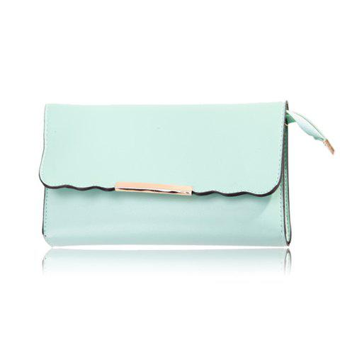 2013 New Arrival PU Leather Solid Color and Magnetic Closure Design Clutch For Women - LIGHT GREEN