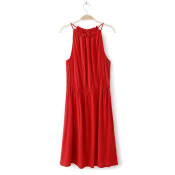 Spaghetti Strap Solid Color Sleeveless Sexy Style Cotton Blend Women's Dress