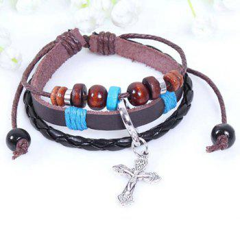 Cross Pendant Faux Leather Beading Bracelet