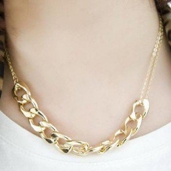 Punk Personalized Style Alloy Chain Embellished Necklace For Women - GOLD GOLD