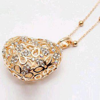 Sweet Hot Sale Style Openwork Heart Shape Pendant Rhinestone Embellished Sweater Chain Necklace For Women - GOLD GOLD
