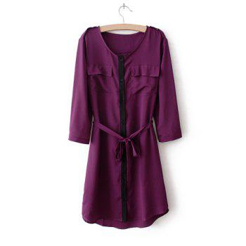 Scoop Neck Sexy Style Chiffon 3/4 Sleeves Bow Tie Solid Color Women's Dress - PURPLE L