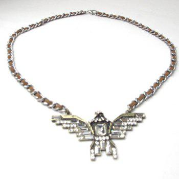 Vintage Rhinestoned Eagle Pendant Necklace - AS THE PICTURE