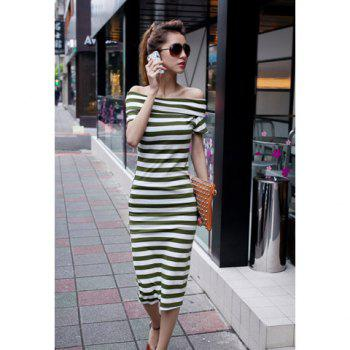 Slim Fit Bateau Neck Short Sleeve Stripes Women's Dress