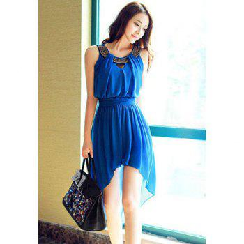 Sleeveless Scoop Neck Bohemian Style Chiffon Irregular Women's Dress - BLUE L