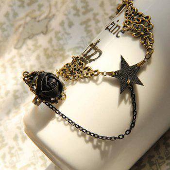 Five Point Star Decorated Alloy Bracelet with Flower Ring