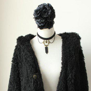 Punk Style Heart Shape and Tassels Decorated Women's Knitted Necklace