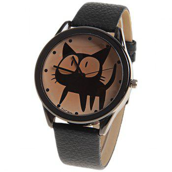 Kuromi Quartz Watch with Dots Indicate Dial Leather Watchband for Women (Black)