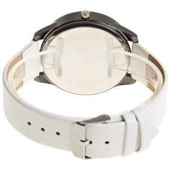 Kuromi Quartz Watch with Dots Indicate Dial Leather Watchband for Women (White) - WHITE
