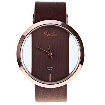 Dalas Quartz Watch with Hollow-out Dial Leather Watchband for Women (Black) - DARK BROWN
