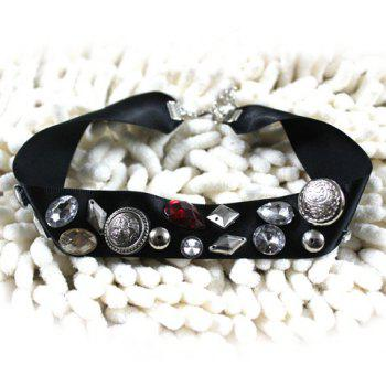 Punk Style Gemstone and Stud Embellished Ribbon Necklace For Men and Women