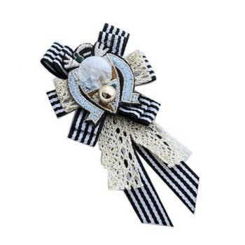 Chic Multi-Layered Embroid and Bowknot Embellished Tassels Brooch For Women