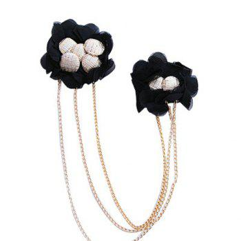 Exquisite Bead Embellished Black Lace Two Flowers Brooch For Women